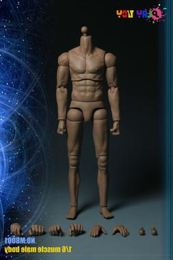 """Play Toy 1/6 Scale 12"""" Male Caucasian Muscular Body Action F"""