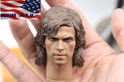 """1/6 Scale Anakin Skywalker Head Sculpt Star Wars For 12"""" Hot"""