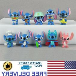 10 PCS Stitch Lilo Model Cartoon Character Action Figure Cak