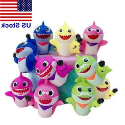 10pcs Baby Shark Action Figure Toy Silicone Shark Doll Cake