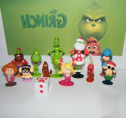 12pcs Movie Cartoon The Grinch PVC Figure Doll Toy Action Fi