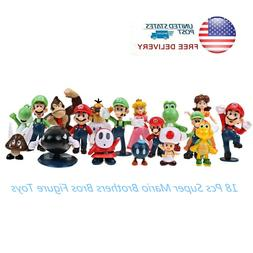 18 pcs Super Mario Brothers Bros Action Figure Cake Toppers