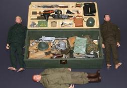 Vintage 1964 GI JOE SOLDIERS, US, British, German + Footloc