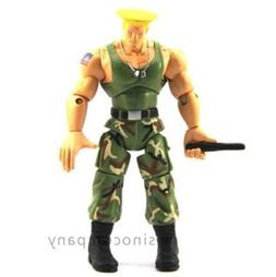 """4"""" JAZWARES STREET FIGHTER Green GUILE ACTION FIGURE GAME BO"""