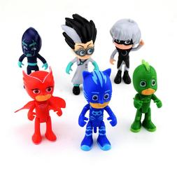 6 pc PJ Masks Action Figures Owlette Catboy Gekko Lunar Girl