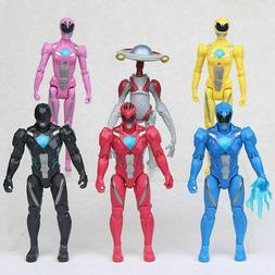 6 Pcs Power Rangers Action Figures Black Red Blue Pink Yello