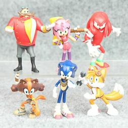 6 PCS Sonic The Hedgehog Knuckles Tails Action Figure Cake T
