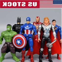6Pcs/Set Avengers Batman Hulk Thor Iron Man Superman Action
