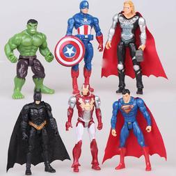 6PCS/Set The Avengers Batman Hulk Thor Iron Man Superman Act