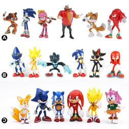 6PCS Sonic The Hedgehog Knuckles Shadow Action Figure Cake T