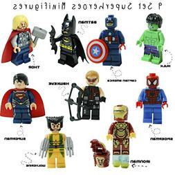 Kid's Corner Productions 9 Superheroes Minifigures Set | S