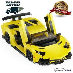 924pcs Yellow Racing Car Building Blocks DIY Action Figure T
