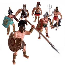 HAPTIME 6 Pcs Large Action Figure Spartan Army Warriors Roma