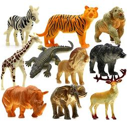 HNVOUER Animals Figure, 5 inches Jungle Animals Toys Set, 10