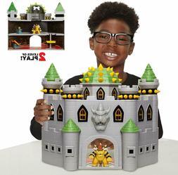 Bowser Deluxe Castle Playset Super Mario Fireballs Hidden Tr