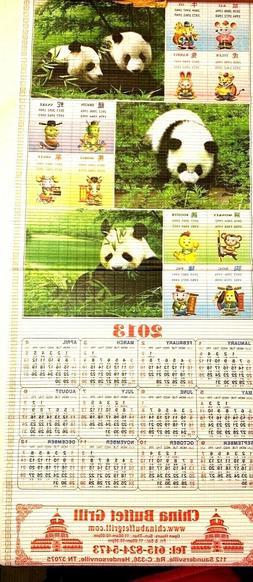 Chinese Wall Scroll Calendar -2013, year of the Panda, Resta