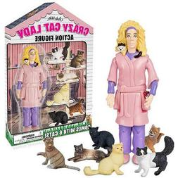 "5"" Crazy Cat Lady with 6 Cats Action Figure Set, Vinyl"