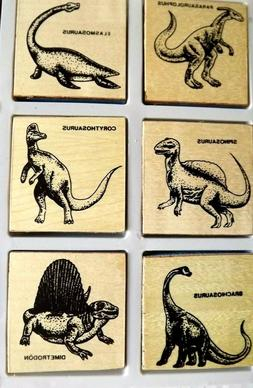 Dinosaur Wooden Stamp Set Toys Kids Arts Crafts Hobbies Age