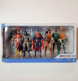 JUSTICE LEAGUE DC ICONS 7 Pack Action Figure Set Rebirth BRA