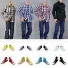 1/6 SCALE MALE CASUAL CLOTHING SET PLAID SHIRT JEANS FOR 12'