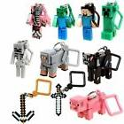 10 Minecraft Action Figures Hangers Keychains Set of 10