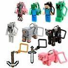 10 Minecraft Action Figures Hangers Keychains Set of 10