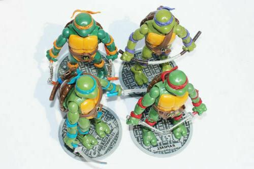 4 Pcs Ninja Turtles Action Figures w/Base Mickey Leo Ralph