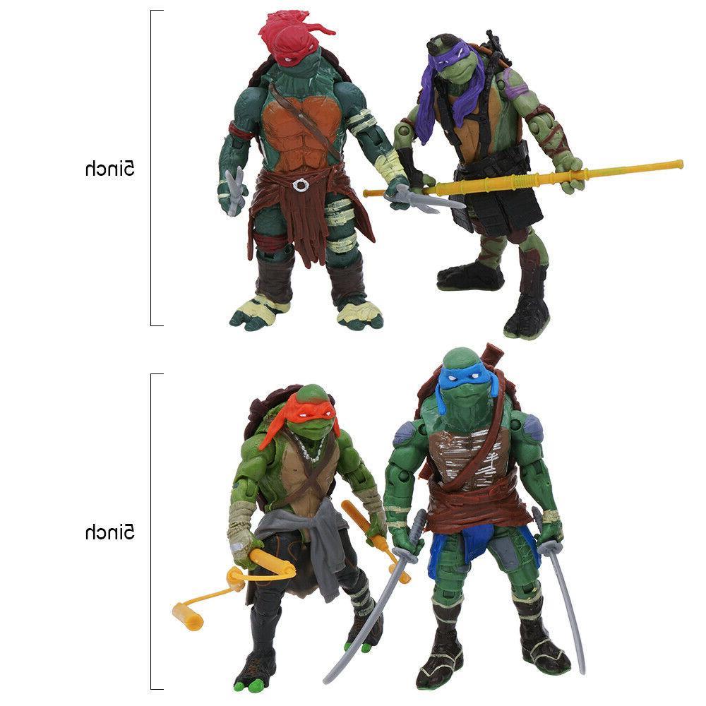 """4PCS Teenage Turtles Movie 4"""" Figure Kids Toys"""