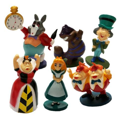 6 PCS Alice In Wonderland White Rabbit Action Topper