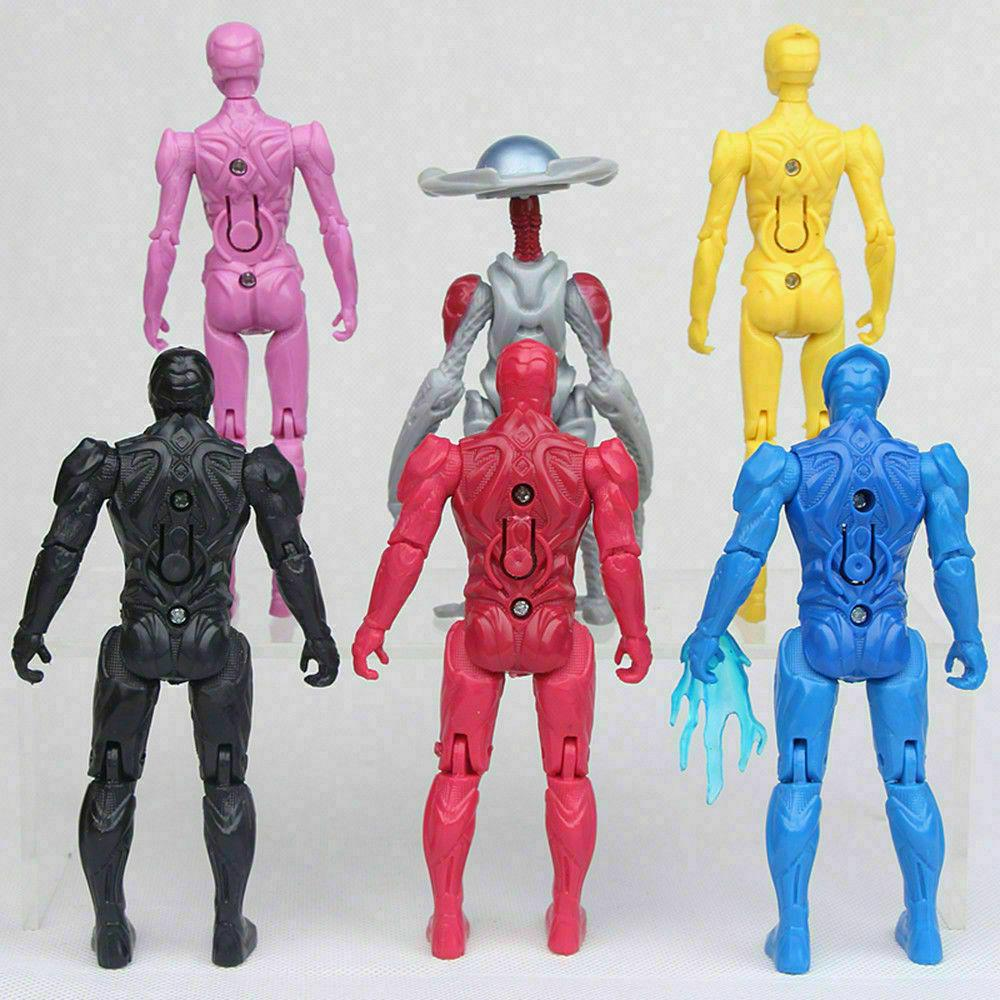 6 Power Rangers Action Black Blue Pink Set Toys