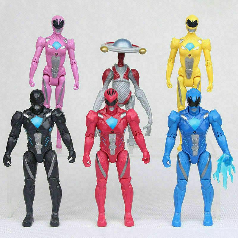 6 pcs power rangers action figures black