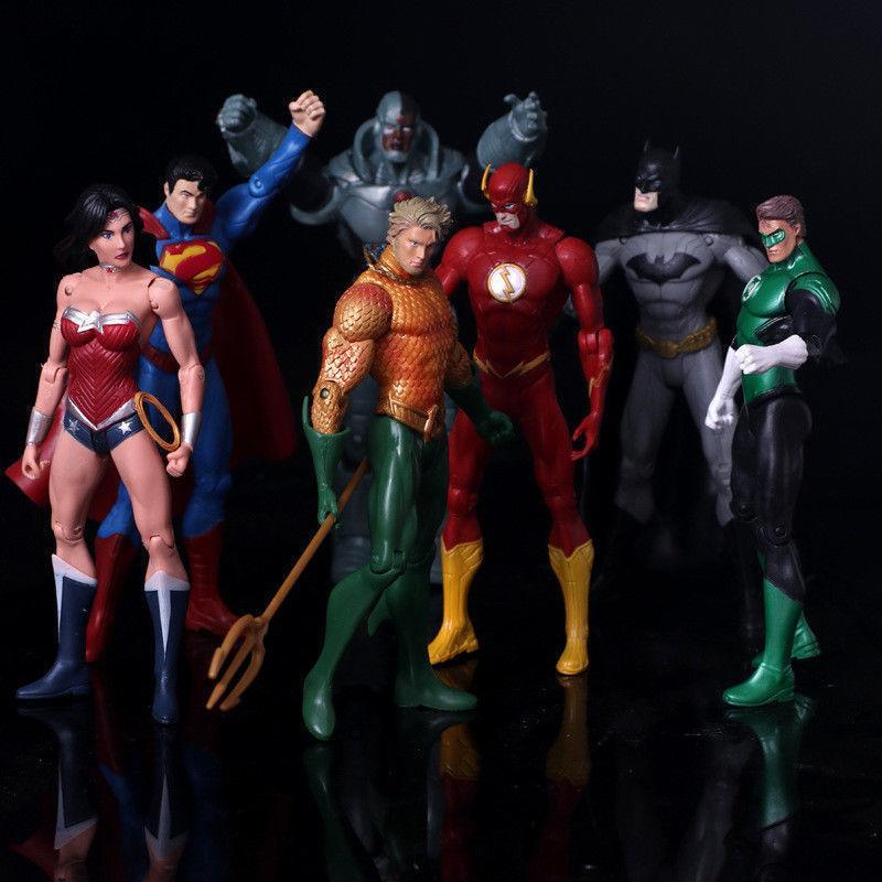 7 pcs dc justice league 7 action