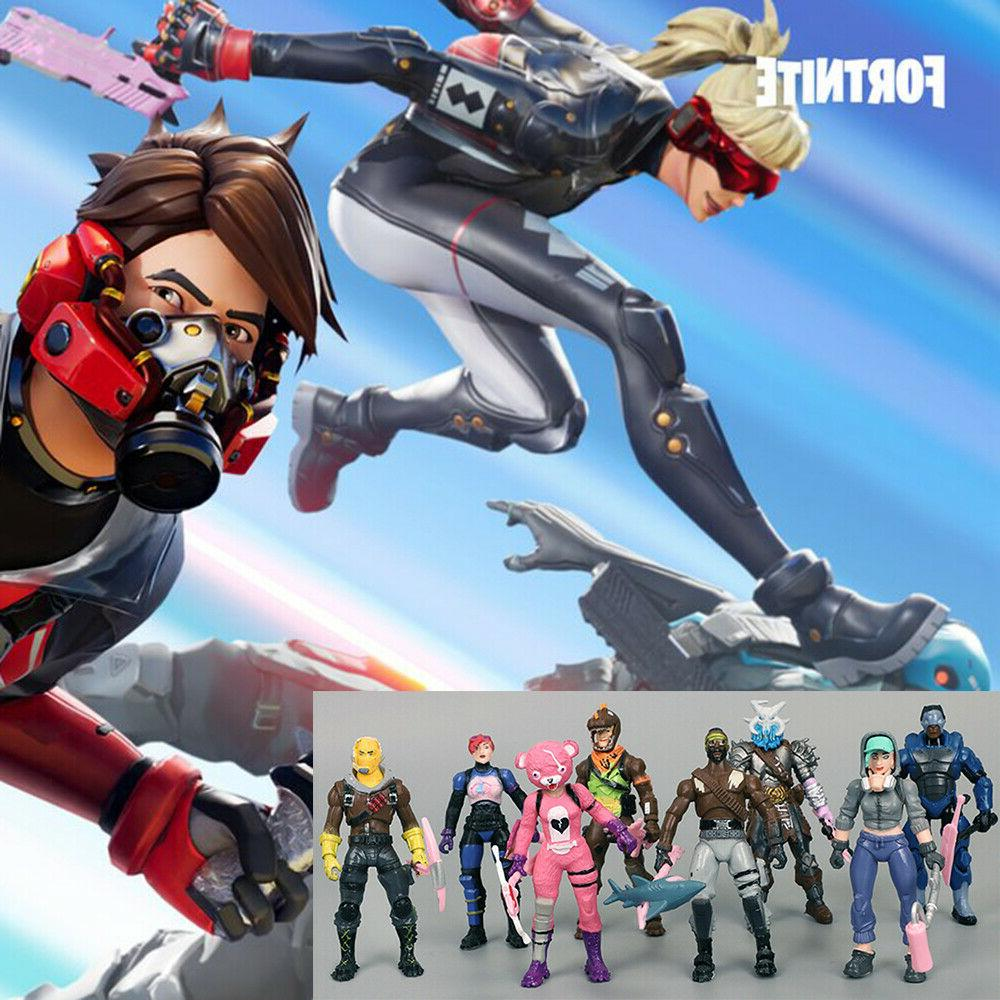 8 pcs fortnite action figures skull trooper