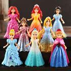 8pcs/set  Disney Princess Action Figures Changed Dress Doll