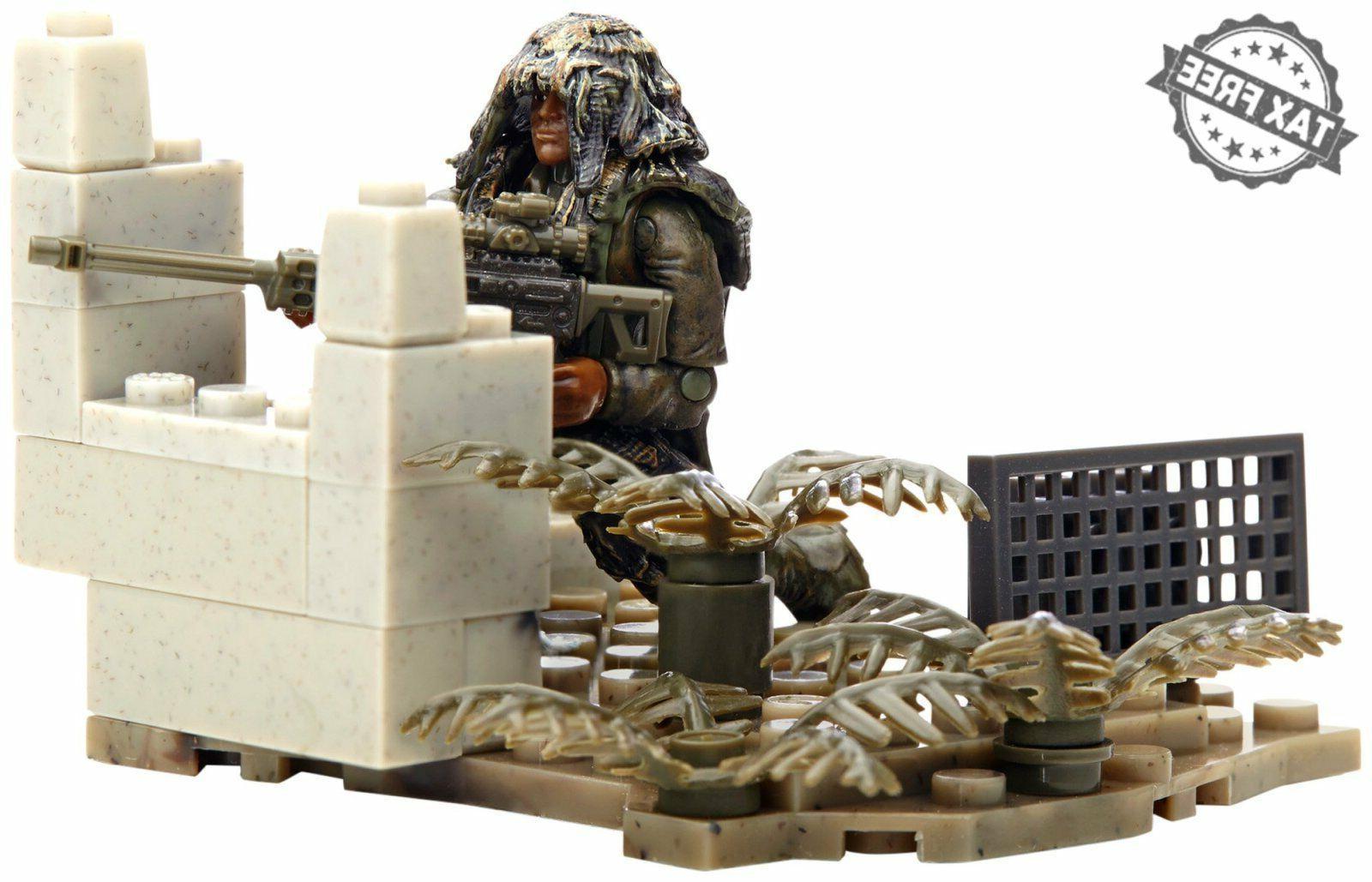 Mega Call Duty Figure Ghillie Sniper Set Action Building