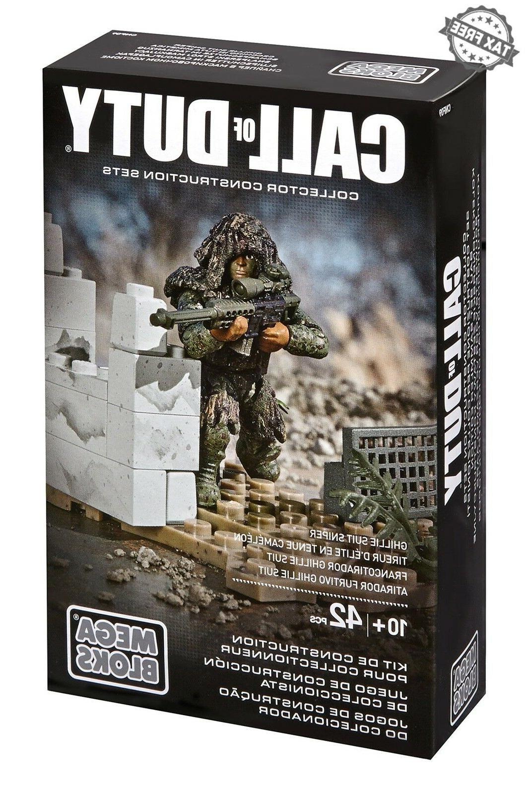 Mega Bloks Duty Figure Ghillie Sniper Rifle Set Action Building