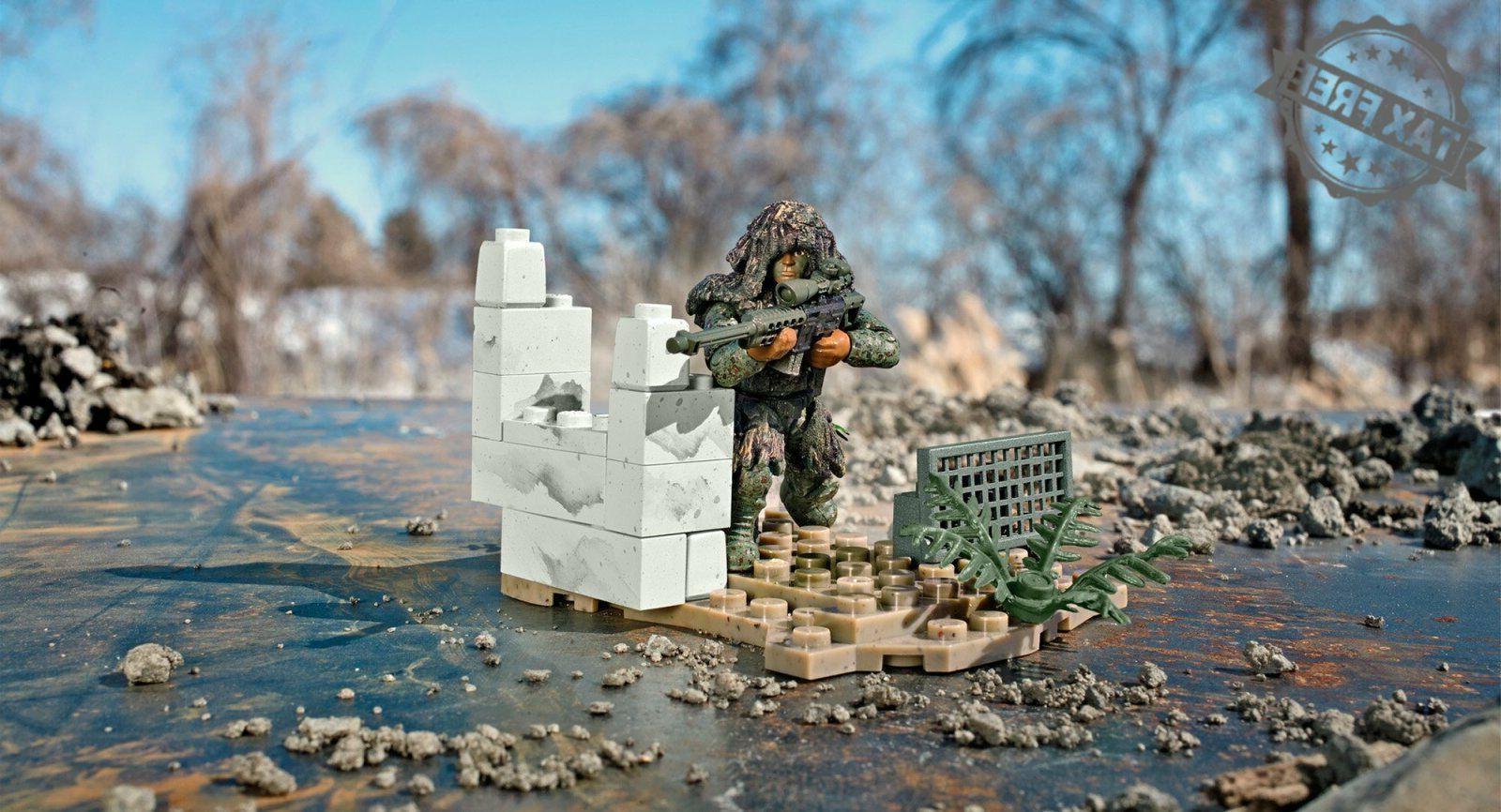 Mega Bloks of Duty Ghillie Suit Sniper Set Action
