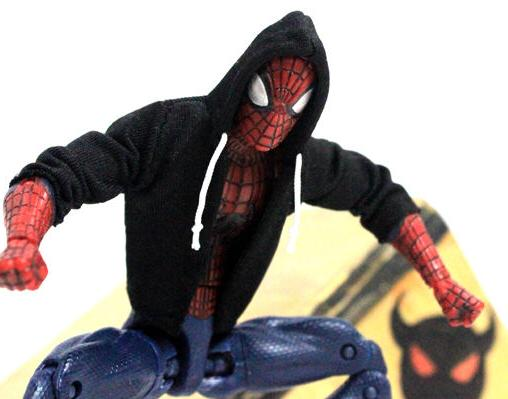 """NOX-ST: FIGLot 1/12 black fabric hoodie for 6"""" Marvel Spider"""