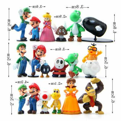 NEWEST Super Mario Lot 18pcs Action Figure Doll Playset US STOCK