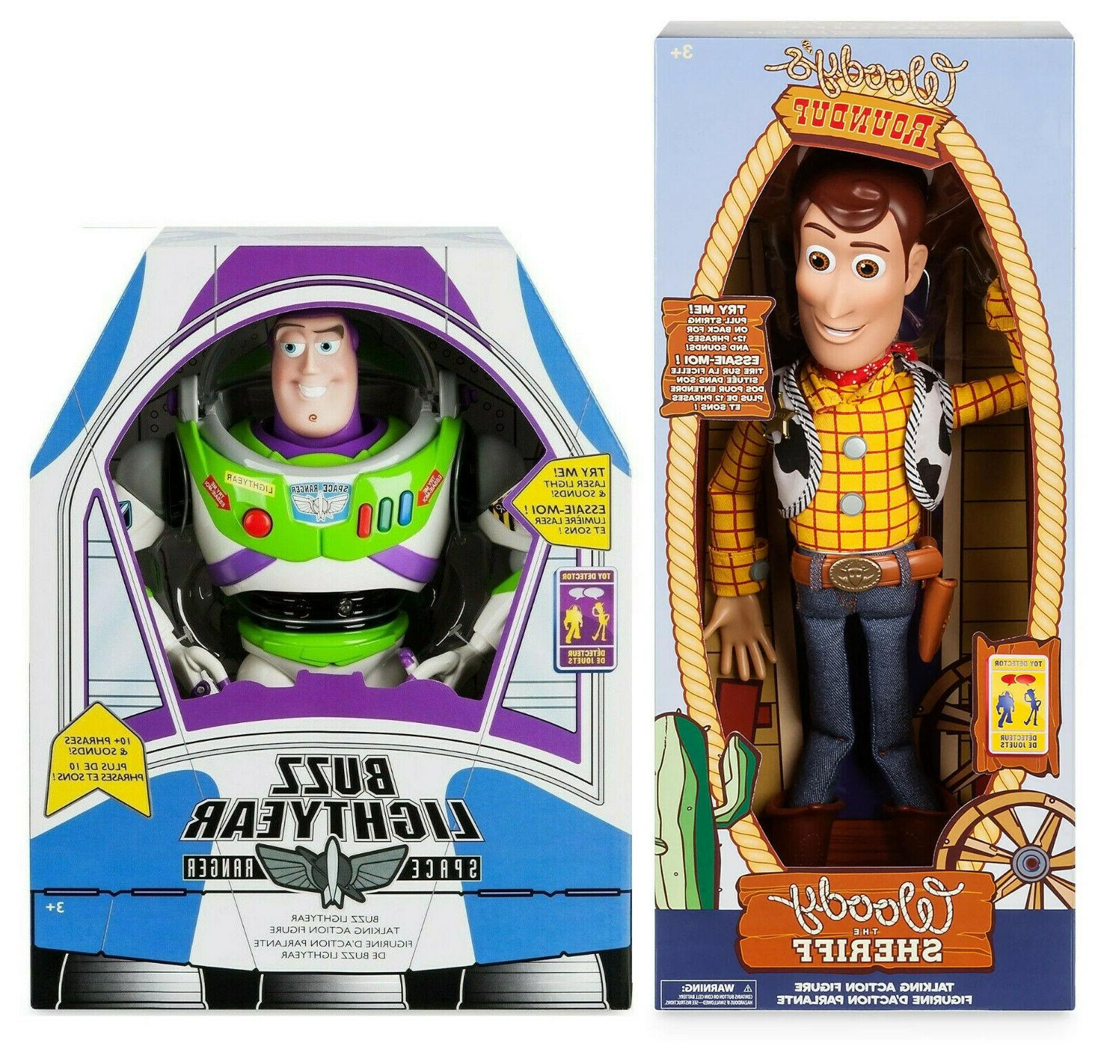 "Disney Toy Story TALKING Cowboy Woody & BUZZ Lightyear 16"" A"