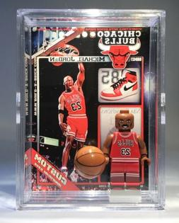Michael Jordan Custom Mini Action Figure w Case & Lego Stand