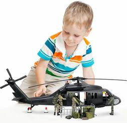 Military Black Hawk Attack Combat Helicopter 30 Piece Play S
