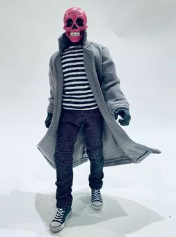 PB-LTC-GRY: 1/12 Grey Wired Trench Coat for Mezco One:12 Gom