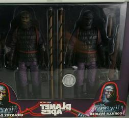 """NECA PLANET OF THE APES INFANTRY 2- PACK GORILLA SOLDIERS 7"""""""