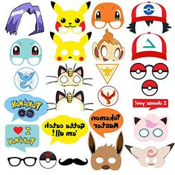 Pokemon Party Supplies - Photo Booth Props Suitable for Birt
