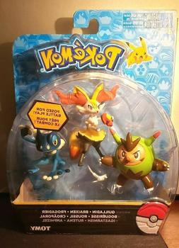 POKEMON TOMY QUILLADIN BRAIXEN FROGADIER ACTION FIGURE 3 PC