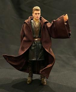 "PP-R-TN: Dark Brown Wired Jedi Fabric Robe for 6"" Star Wars"