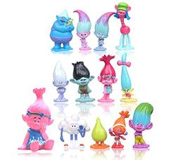 Max Fun Set of 13pcs Trolls dolls, 3-6cm Tall Movie Trolls A