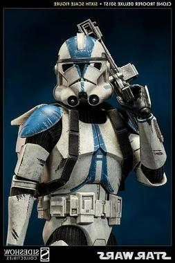 "SIDESHOW STAR WARS CLONE TROOPER DELUXE 501ST 12"" 1/6 ACTION"
