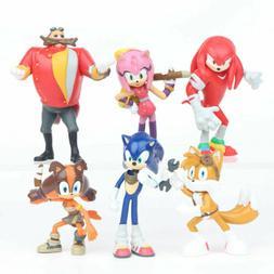 Sonic The Hedgehog Knuckles Tails 6 PCS Action Figure Collec